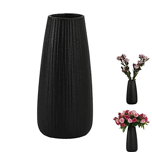 Haucy Bloemenvazen zwart, van keramiek, vazen voor pampasgras, zwarte vaas voor woonkamer, tafel, thuis, kantoor, decoratie, 1 stuk (22,5 x 5,8 cm)