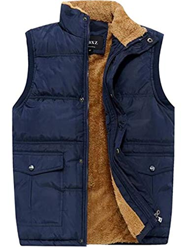 XinDao Men's Stylish Leisure Padded Vest Cashmere Warm Vest Lightweight Stand Quilted Coat Blue US S/Asia 2XL
