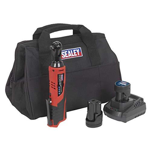 Sealey CP1202KIT Li-Ion-Ratschenschlüssel-Set mit 2Akkus/Ladegerät und Tasche, 12V, Rot/Schwarz, 3/8-Zoll (9,52 mm)