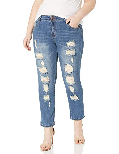 cover girl Plus Size Skinny Ripped Jeans for Women Distressed Blue, Electric 24W