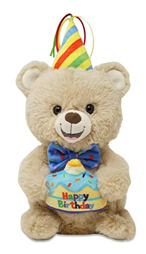 "Cuddle Barn | Birthday Benny 10"" Bear Animated Stuffed Animal Plush Toy 