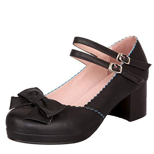AIYOUMEI Mary Jane Damenschuhe Blockabsatz Plateau Pumps mit Schleife und Riemchen Schuhe Lolita Schwarz 39.5 EU