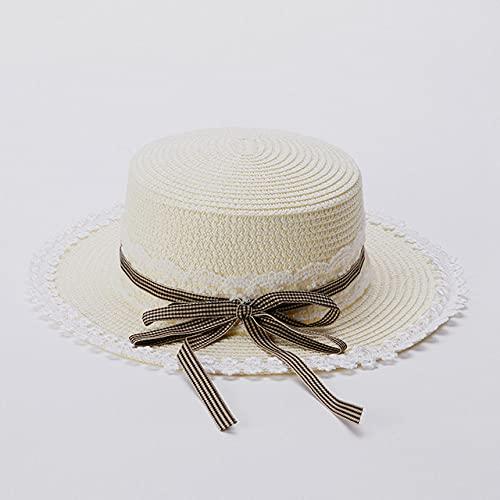 QND,Sombrero,Sombrero de Paja de Encaje Dulce Sombrero para el Sol de ala Ancha de Primavera y Verano para bebé niña, Blanco, 48,50 CM