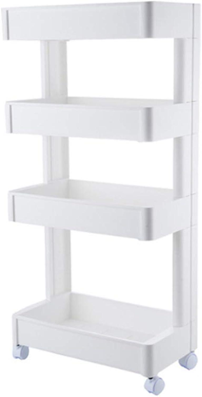 Kitchen Plastic Storage cart, Multi-Function Large Capacity Solid Refrigerator Side Gap Rack, Bathroom Bathroom Kitchen Storage Rack,A,Fourlayers