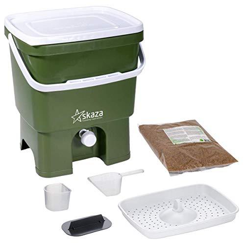 Skaza Bokashi Organko (16 L) Compostador de Jardín y Cocina de Plástico Reciclado | Starter Set con EM Bokashi Polvo 1 Kg. (Oliva-Blanco)