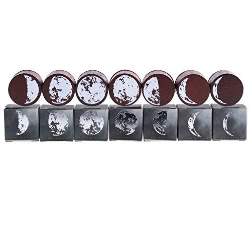 Lychii Holzstempel zum Basteln, 7 Stück Mondphasen Holzstempel, dekorativ montiertes Stempelset für Heimwerker, Brieftagebuch und Scrapbooking