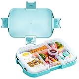 Mefine Lunchbox Kinder Bento Box, Brotdose mit 6 Unterteilungen Fächern, Robust und Auslaufsicher, Jausenbox Brotzeitbox Brotzeitbox für Kinder, Schule, Picknick und Reisen Grün