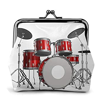 Cool Drum Set Coin Purse Vintage Pouch Kiss-Lock Change Wallets Buckle Leather Coin Purses Key