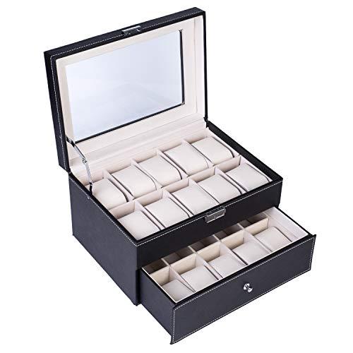 MULTIMEDIA Caja de colección de relojes de madera con 20 compartimentos, doble capa, color negro