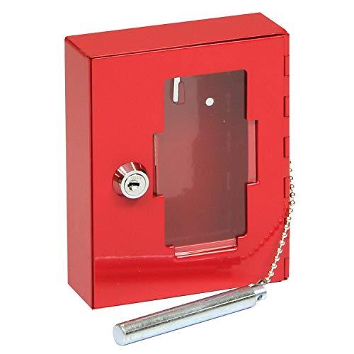 FELGNER Schlüsselkasten TS 1021 Schlüsselbox Key Garage Kassette zur sicheren Aufbewahrung | mit Glasscheibe und Glasbruchhammer - einfache Wandmontage inkl. 2 Schlüssel - 120x130x40mm - rot