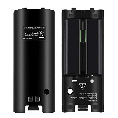 OSAN 2x 2800mAh Hohe Kapazität wiederaufladbar Batterie Pack Akkus für Nintendo Wii Remote Controller (Schwarz)