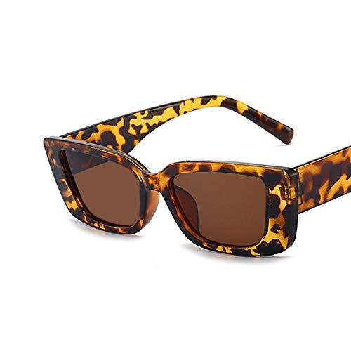 NJJX Gafas De Sol Cuadradas De Moda De Viaje De Lujo Vintage Retro Pequeñas Mujeres Rectangulares Gafas De Sol C7Leopard