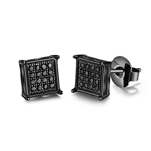 Mens Square Earrings Black Stud Diamond Crystal Small 316L Surgical Stainless Steel Post for Sensitive Ears Cool Guy Jewelry Gift Men, Women Unisex 7mm -Tarsus