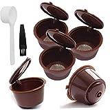 tJexePYK Filtro de café plástica cápsulas de café de Filtro Copas Recargable Filtro Reutilizable Cuchara Cepillo para Dolce Gusto Máquinas Brown