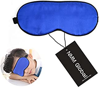 NMM Global 100% Natural Silk Sleep Eye Mask Kids, Cute Night Sleeping Mask with Adjustable Elastic Strap for Girls Boys Child (Blue Small)
