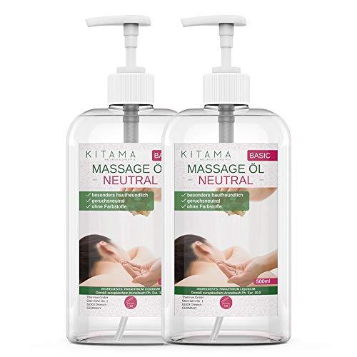 Kitama Massageöl Neutral | Körperöl zum Einsatz für Massagen I Für Thai-Massage Physiotherapie & Spa (1000ml)