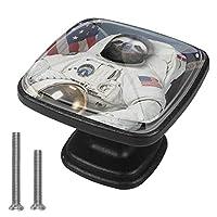 キャビネットノブ4個クリスタルガラスプルハンドル宇宙飛行士Sloth. 家具のドアまたは引き出しを開く場合