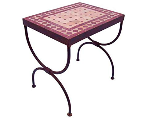 Casa Moro Mosaikkonsole Raute Bordeaux-Terracotta 45x30x40 cm (BxTxH) rechteckig Echte Handarbeit Marokkanischer Mosaik-Beistelltisch | Ideal für Balkon Terrasse Wohnzimmer | MT2001-01