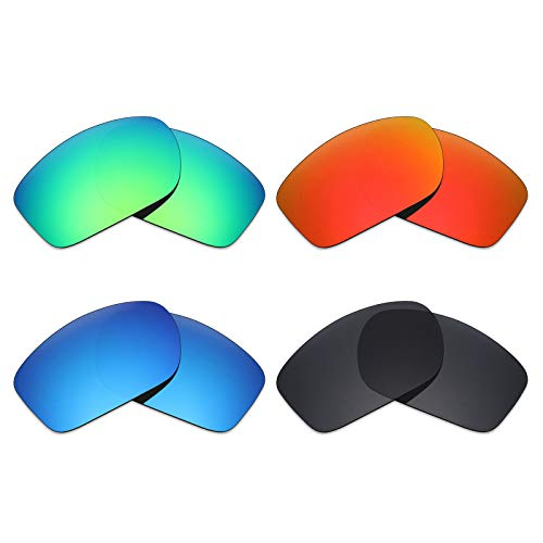 Mryok 4 Paar Gepolariseerde Vervangende Lenzen voor Oakley Klep Nieuw 2014 Zonnebril - Stealth Zwart/Vuur Rood/IJsblauw/Emerald Groen