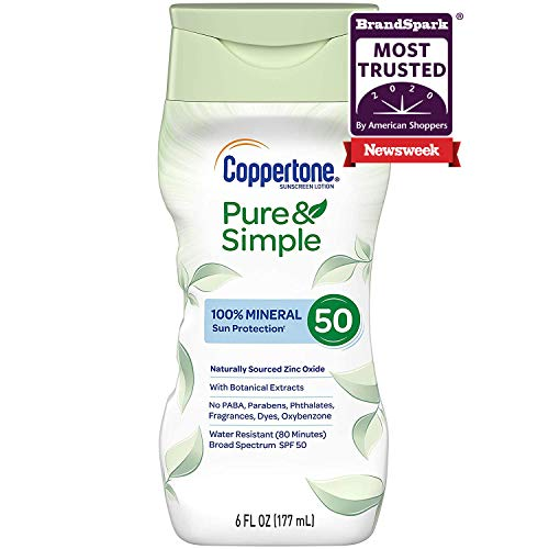 Coppertone Pure & Simple SPF 50 Sunscreen Lotion, Water Resistant, Hypoallergenic, Dermatologically Tested, Plus 100% Natural Botanicals,Broad Spectrum UVA/UVB Protection,White, 6 Ounce