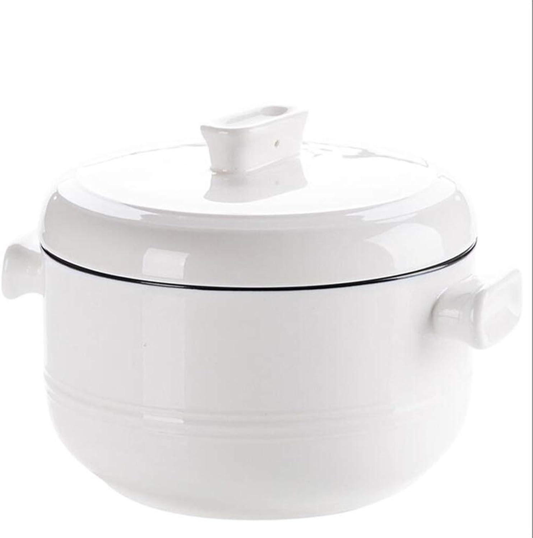 LKK Bol à Soupe à Deux Oreilles avec Couvercle Grand Bol à Nouilles instantanées en céramique Bol à Oeufs à la Vapeur (Couleur   blanc, Taille   10X18CM)