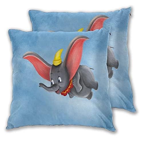 PATINISA 2pcs Fundas de Cojín,Cutecartoon Animal Wild Dumbo Elephant Fly,Cuadrado Suave Funda de Almohada Decorativa Sofá Sillas Cama Decoración para Hogar,50x50cm