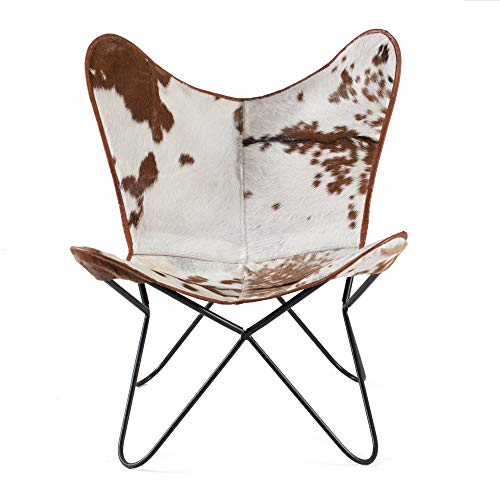 MH London Butterfly Chair - Genuine Leather - Handmade, Solid Iron Frame -...
