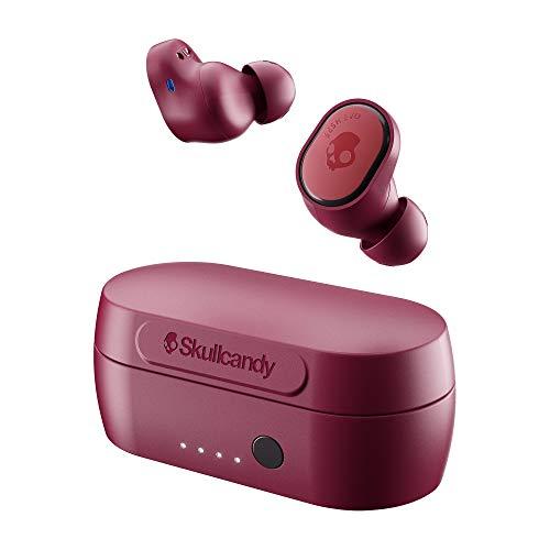 Auriculares Inalámbricos Skullcandy Sesh EVO True Wireless, con Bluetooth Incorporado, Resistentes al Sudor, al Agua y al Polvo, Batería de hasta 24 Horas de Duración Total - Rojo Oscuro