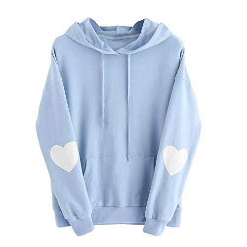 Pullover Damen Korean Fashion, KIMODO Herz Drucken Sweatshirt Langarm lose Tumblr Kapuzenpullover warme Winter Kawaii Hoodie Tops Bluse (Blau, S)