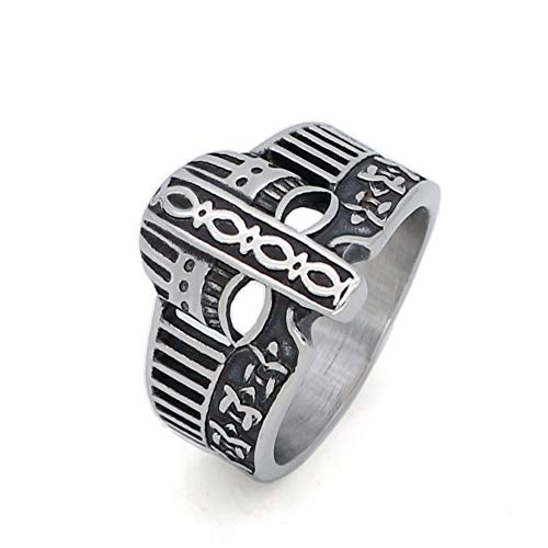 GuoShuang Nordic Stainless Stee; Viking Helmet Amulet Ring with Viking Gift Bag