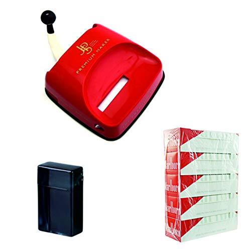kogu Set, JPS Zigarettenstopfmaschine Kunststoff, Stopfgerät für Zigaretten mit Hebel, inklusive 5x200 Marlboro Red Hülsen und Zigarettenbox