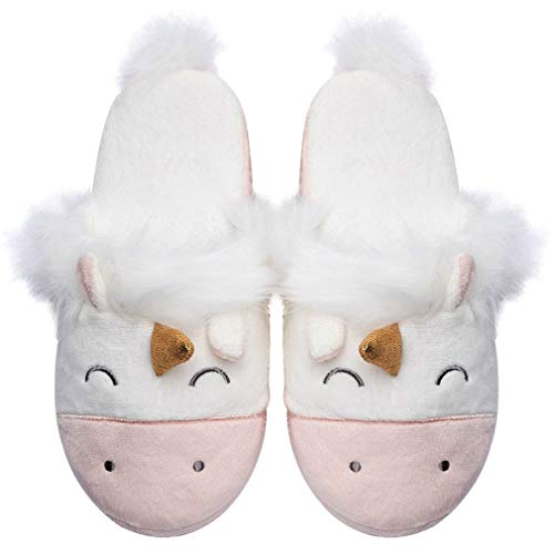 Fuzzy Pink Unicorn House Slippers for Women Cute Animal Memory Foam House Shoes