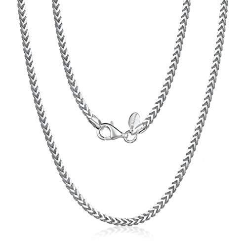 Amberta 925 Plata De Ley Esterlina Collar Para Hombre - Cadena De Franco (Espiga) 2.5 mm - Longitud: 50 cm