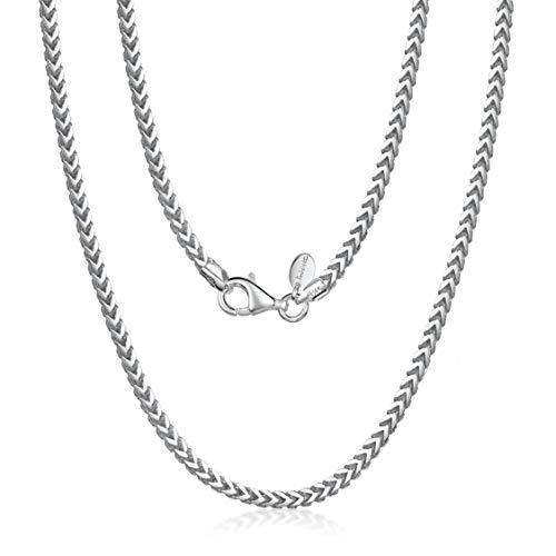 Amberta 925 Sterling Silber Halskette für Herren - Rhodiniert - Panzerkette (Franco Kette) 2.5 mm – 70 cm