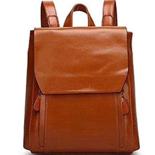 Naerde stile europeo zaino moda PU in pelle zaino borse spalla zaino per le ragazze o le donne (marrone)