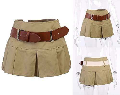 ORANDESIGNE Mini Falda Mujeres Y2k Harajuku Goth Punk Falda Belt Bag A-Line Gothic Plisado Mini Faldas de Cintura Alta Cintura Baja Skater Falda Malla Encaje Falda a Cuadros O Marrón S