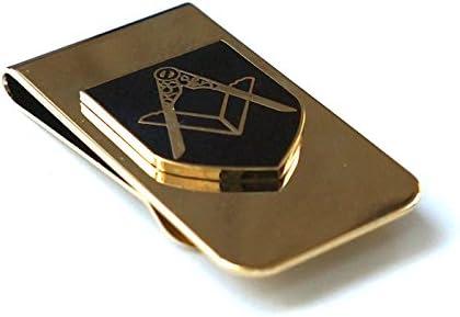 Square & Compass Masonic Money Clip - [Brass][2'' Tall]