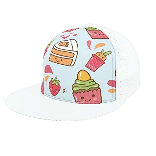 AXGM Jungen Mädchen Kappe Mütze Süßigkeiten Kuchen Dessert Modische Mesh Sports Hut Baseball Cap mit Schirm Baseballkappe für Sport Reise Outdoor Freizeit White OneSize