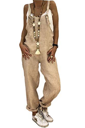 Yesgirl Tute da Donna Casual Pantaloni Larghi Harem Tute di Lino Playsuit Jeans Pantaloni Boyfriend Tuta da Gioco Pagliaccetti Salopette Estate Tuta Jumpsuit Playsuit Boyfriend Cachi M