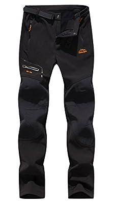 DAFENGEA Women's Snow Ski Outdoor Waterproof Windproof Softshell Fleece Slim Hiking Snowboard Pants,CFK1812W-Black-M