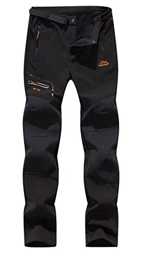 BenBoy Women's Outdoor Waterproof Windproof Fleece Slim Cargo Snow Ski Hiking Pants,AN-SF1602W-Black-L