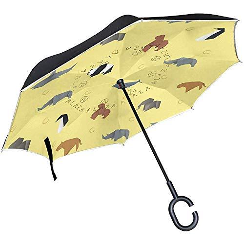 Doppelschicht-umgekehrter Regenschirm-Origami-Tiermuster-winddichter Auto-Regen außerhalb des C-förmigen Griffs