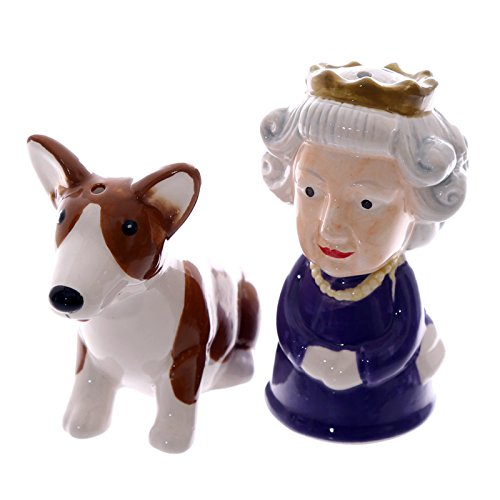 Salt & Pepper Condiment Set/pots Queen & Corgi By Puckator