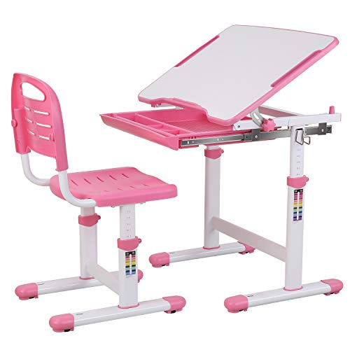 POTBY Kids Desk and Chair Set, Height Adjustable Children Study Table Students Interactive Workstation, with Wood Tiltable Anti-Reflective Tabletop...