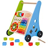 KIDS TOYLAND Baby Learning Walker, Wooden Push and Pull Baby Walker Toys with Multiple Activity Centre, Best Gift for 18 Months Boys Girls