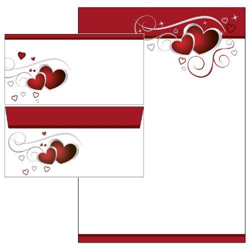 rote Herzen / Love Set Briefpapier + Briefumschläge DIN lang ohne Fenster 20 Blatt Briefpapier + 20 Kuverts ohne Mappe 5781+6781