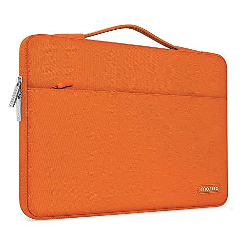 MOSISO Maletín Compatible con 13-13,3 Pulgadas MacBook Air/MacBook Pro/Ordenador portatil, Funda Blanda Protectora 360 Multifuncional Bolso con Correa de Carro, Naranja
