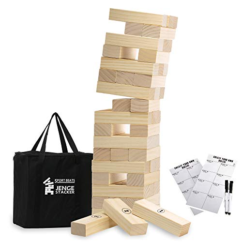 Medium Tower Game Jenge Stacker Wooden Stacking Games Lawn Outdoor Games for Adults and Family - Includes Rules and Carry Bag-54 Medium Blocks