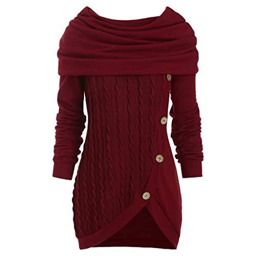 UJUNAOR Sweatshirt Langarmshirts Rund Halsausschnitt Bluse Oberteile Shirt Frauen Plus Größe Normallack-Knopf-Haufen-Kragen-mit Kapuze Unregelmäßiger Gestrickter Strickpulli