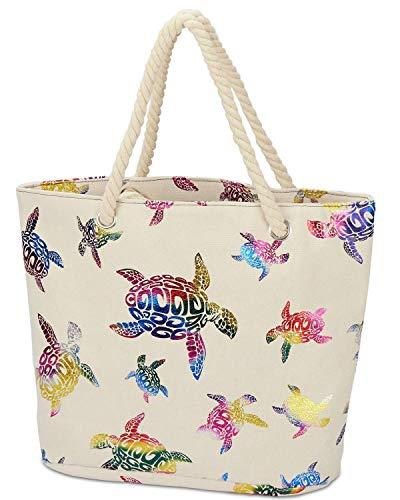 LIVACASA Bolsa de Playa con Cremallera de Lienzo Color Block Beach Bag Bolsa de Hombro de Lienzo Gran Capacidad Bolsos Totes para Mujer para Viajes Clases Picnic Tortugas